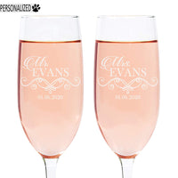 Evans Personalized Etched Pair of Mr and Mrs Champagne Toast Flutes 8oz