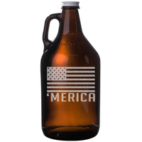 'Merica Etched Amber Glass Beer Growler 64oz