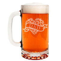 Dad Hoppy Heart Etched Glass Beer Mug 16oz