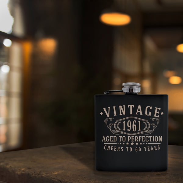 Vintage 1961 Etched 6oz Matte Black Stainless Steel Flask - 60th Birthday Aged to Perfection - 60 years old gifts