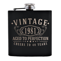 Vintage 1981 Etched 6oz Matte Black Stainless Steel Flask - 40th Birthday Aged to Perfection - 40 years old gifts