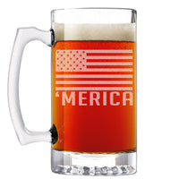 'Merica Etched Glass Beer Mug 25oz