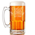 Coolest Dad by Par Etched Glass Beer Mug 34oz