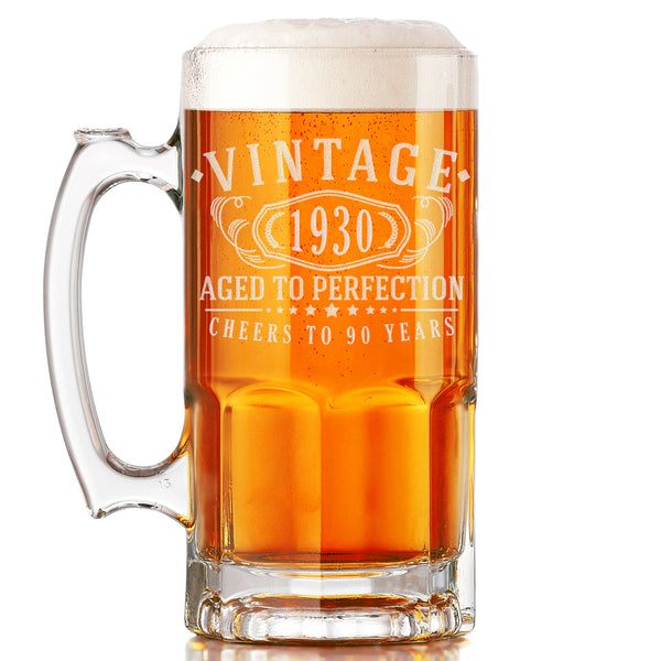 Vintage 1930 Etched 34oz Glass Beer Mug - 90th Birthday Aged to Perfection - 90 years old gifts