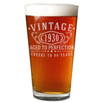 Vintage 1930 Etched 16oz Pint Beer Soda Glass - 90th Birthday Aged to Perfection - 90 years old gifts