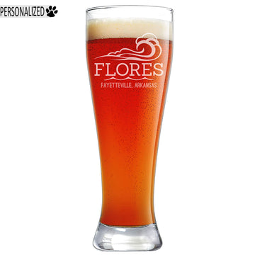 Flores Personalized Etched Pilsner Beer Glass 23oz
