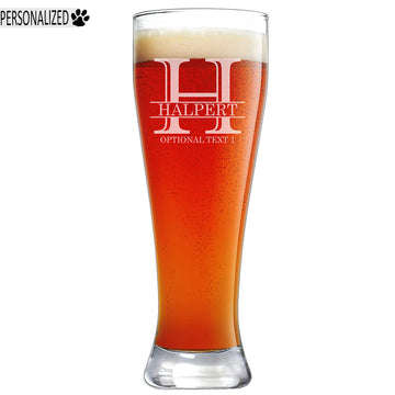 Halpert Personalized Etched Pilsner Beer Glass 23oz