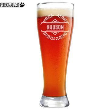 Hudson Personalized Etched Pilsner Beer Glass 23oz