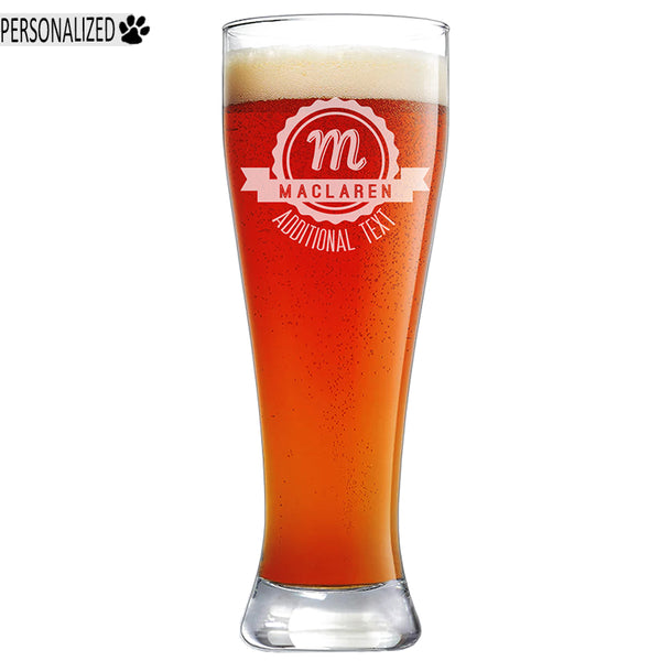 Maclaren Personalized Etched Pilsner Beer Glass 23oz