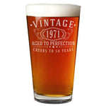 Vintage 1971 Etched 16oz Pint Beer Soda Glass - 50th Birthday Aged to Perfection - 50 years old gifts