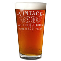 Vintage 2000 Etched 16oz Pint Beer Soda Glass - 21st Birthday Aged to Perfection - 21 years old gifts