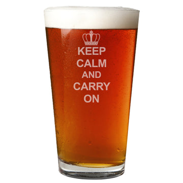 Keep Calm and Carry On Etched 16oz Pint Beer Glass