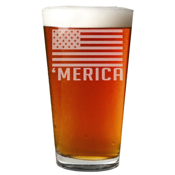 'Merica Etched Pint Glass 16oz