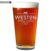 Weston Personalized Etched Pint Glass 16oz