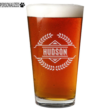 Hudson Personalized Etched Pint Glass 16oz
