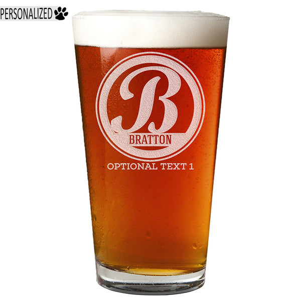 Bratton Personalized Etched Monogram Pint Glass 16oz