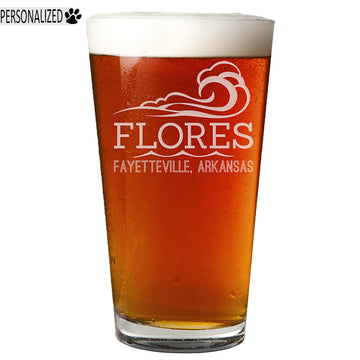 Flores Personalized Etched Pint Glass 16oz