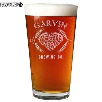 Garvin Personalized Etched Pint Glass 16oz