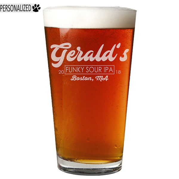 Gerald Personalized Etched Pint Glass 16oz
