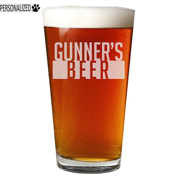 Gunner Personalized Etched Pint Glass 16oz