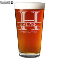 Halpert Personalized Etched Monogram Pint Glass 16oz