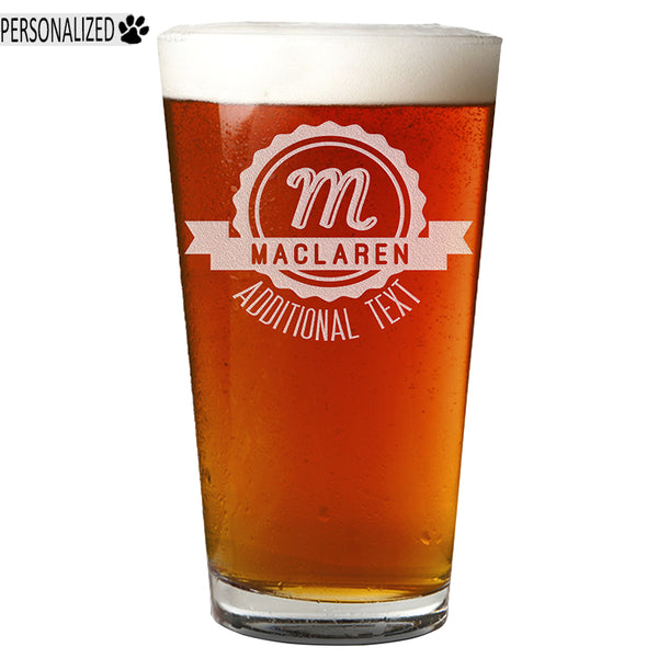 Maclaren Personalized Etched Pint Glass 16oz