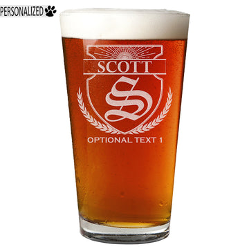 Scott Personalized Etched Monogram Pint Glass 16oz