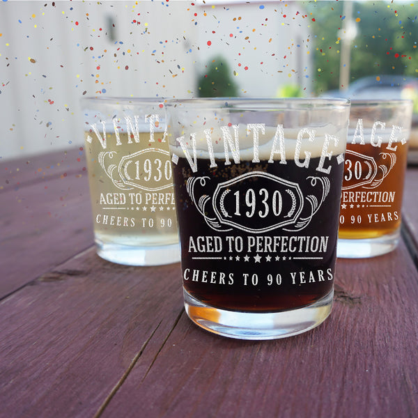 2pk Vintage 1930 Etched 2.5oz Shot Glasses - 90th Birthday Aged to Perfection - 90 years old gifts