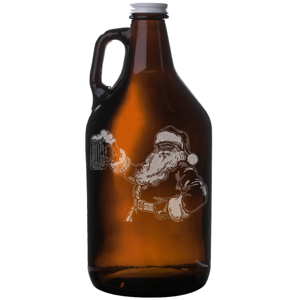 Santa - Christmas Etched Amber Beer Growler 64oz