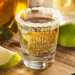 2pk Vintage 1961 Etched 2oz Shot Glasses - 60th Birthday Aged to Perfection - 60 years old gifts