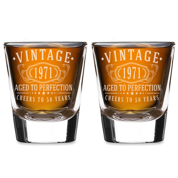 2pk Vintage 1971 Etched 2oz Shot Glasses - 50th Birthday Aged to Perfection - 50 years old gifts