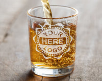 Your Logo Here or Custom Designs | 2 Pack - Custom Etched 2.5oz. Shot Glasses