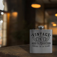 Vintage 1971 Etched 6oz Stainless Steel Flask - 50th Birthday Aged to Perfection - 50 years old gifts