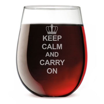 Keep Calm and Carry On Etched 17oz Stemless Wine Glass