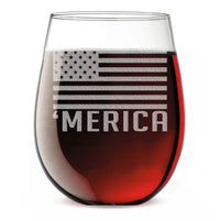 'Merica Etched Stemless Wine Glass