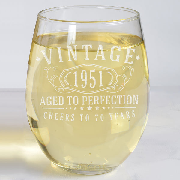 Vintage 1951 Etched 17oz Stemless Wine Glass - 70th Birthday Aged to Perfection - 70 years old gifts