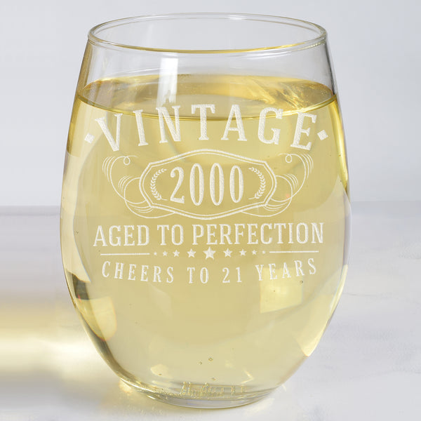 Vintage 2000 Etched 17oz Stemless Wine Glass - 21st Birthday Aged to Perfection - 21 years old gifts
