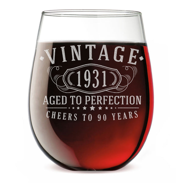 Vintage 1931 Etched 17oz Stemless Wine Glass - 90th Birthday Aged to Perfection - 90 years old gifts
