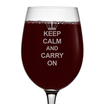 Keep Calm and Carry On Etched 16oz Stemmed Wine Glass