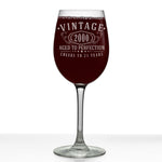 Vintage 2000 Etched 16oz Stemmed Wine Glass - 21st Birthday Aged to Perfection - 21 years old gifts