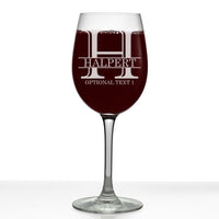 Halpert Personalized Etched Monogram Stemmed Wine Glass 16oz