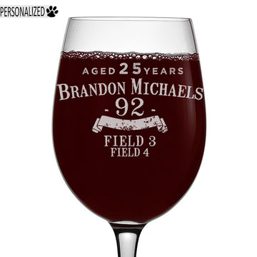 Brandon Personalized Etched Stemmed Wine Glass 16oz