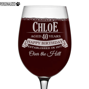 Chloe Personalized Etched Stemmed Wine Glass 16oz