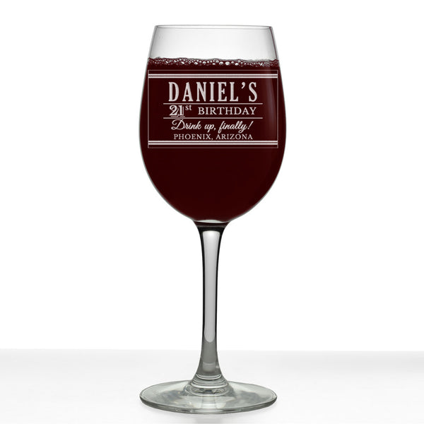 Daniel Personalized Etched Stemmed Wine Glass 16oz