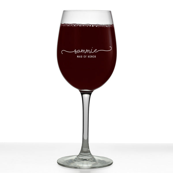 Sammie Personalized Etched Stemmed Wine Glass 16oz