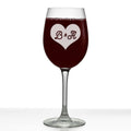 Heart Initials Personalized Etched Stemmed Wine Glass 16oz