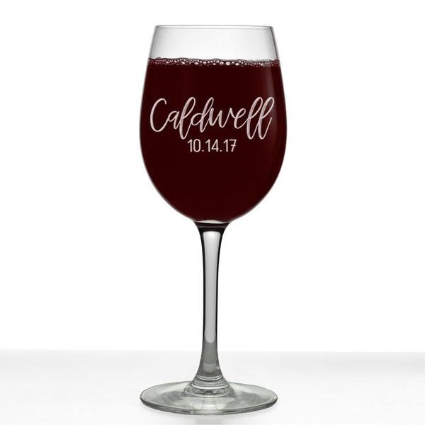 Caldwell Personalized Etched Stemmed Wine Glass 16oz