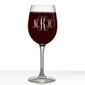 Script Personalized Etched Stemmed Wine Glass 16oz