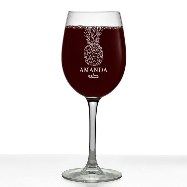 Pineapple Personalized Etched Stemmed Wine Glass 16oz