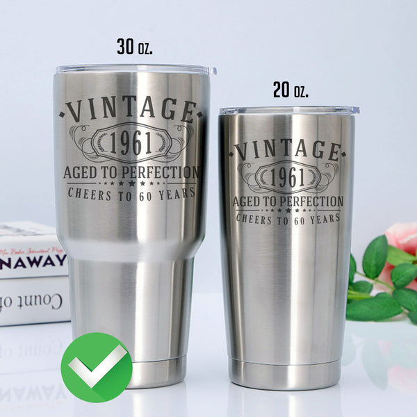 Vintage 1961 Etched 30oz Stainless Steel Insulated Vacuum Sealed Tumbler - 60th Birthday Aged to Perfection - 60 years old gifts